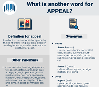 appeal, synonym appeal, another word for appeal, words like appeal, thesaurus appeal