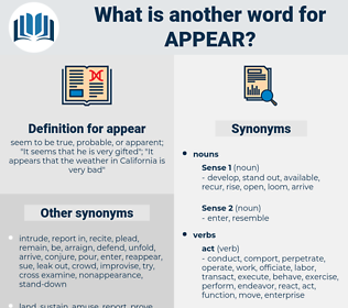 appear, synonym appear, another word for appear, words like appear, thesaurus appear
