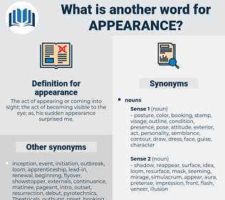 appearance, synonym appearance, another word for appearance, words like appearance, thesaurus appearance