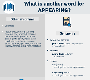appearing, synonym appearing, another word for appearing, words like appearing, thesaurus appearing