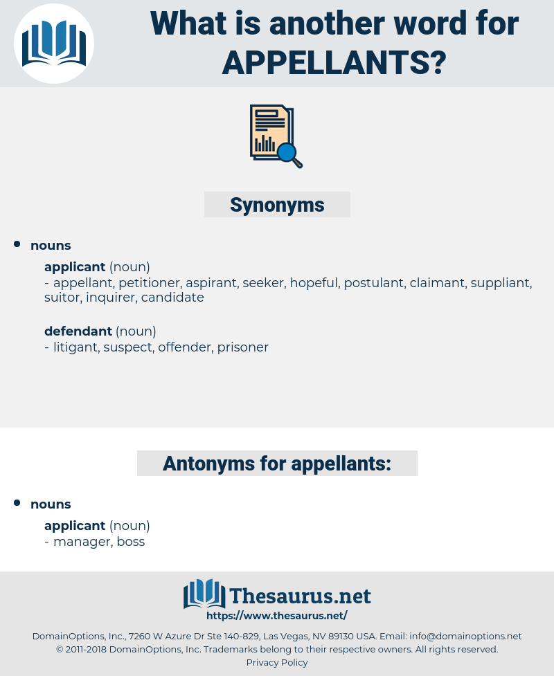 appellants, synonym appellants, another word for appellants, words like appellants, thesaurus appellants