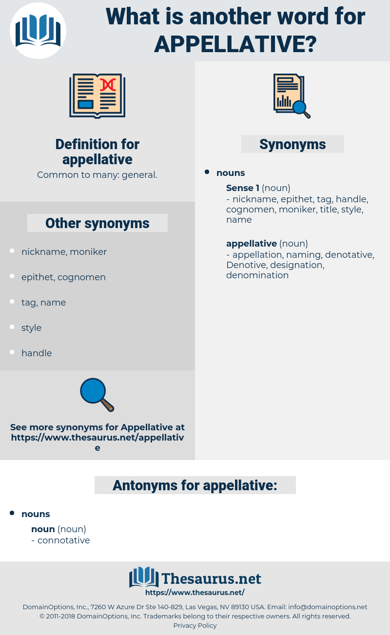 appellative, synonym appellative, another word for appellative, words like appellative, thesaurus appellative