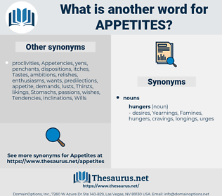Appetites, synonym Appetites, another word for Appetites, words like Appetites, thesaurus Appetites