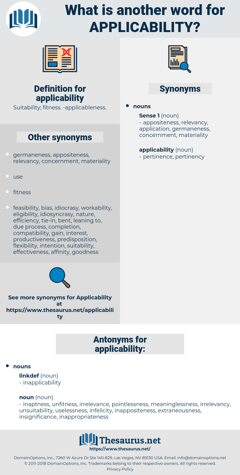 applicability, synonym applicability, another word for applicability, words like applicability, thesaurus applicability