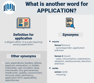 application, synonym application, another word for application, words like application, thesaurus application