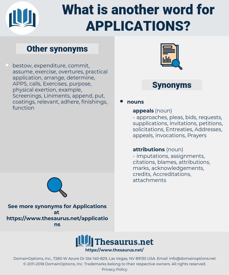 applications, synonym applications, another word for applications, words like applications, thesaurus applications