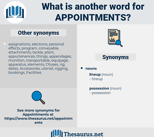 Appointments, synonym Appointments, another word for Appointments, words like Appointments, thesaurus Appointments