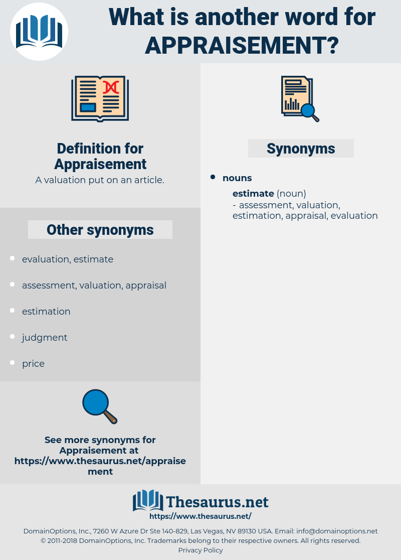 Appraisement, synonym Appraisement, another word for Appraisement, words like Appraisement, thesaurus Appraisement