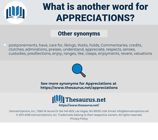 appreciations, synonym appreciations, another word for appreciations, words like appreciations, thesaurus appreciations
