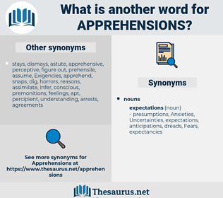 apprehensions, synonym apprehensions, another word for apprehensions, words like apprehensions, thesaurus apprehensions