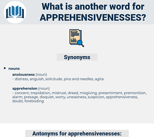 apprehensivenesses, synonym apprehensivenesses, another word for apprehensivenesses, words like apprehensivenesses, thesaurus apprehensivenesses