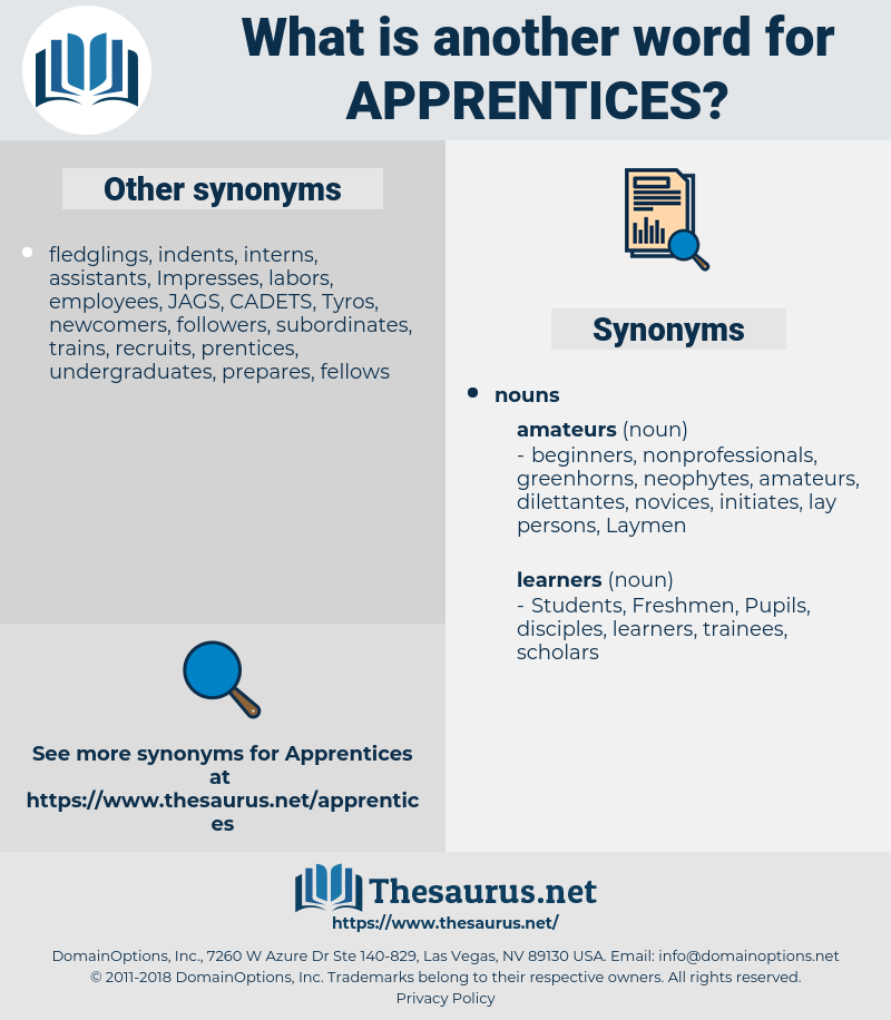 apprentices, synonym apprentices, another word for apprentices, words like apprentices, thesaurus apprentices