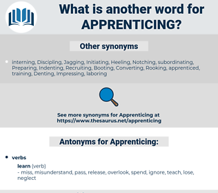 Apprenticing, synonym Apprenticing, another word for Apprenticing, words like Apprenticing, thesaurus Apprenticing