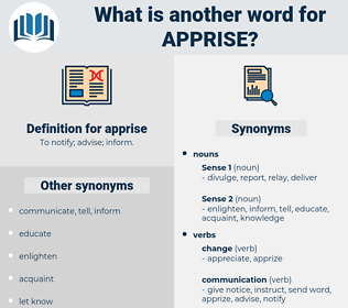 apprise, synonym apprise, another word for apprise, words like apprise, thesaurus apprise