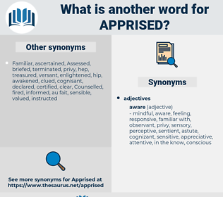 Apprised, synonym Apprised, another word for Apprised, words like Apprised, thesaurus Apprised