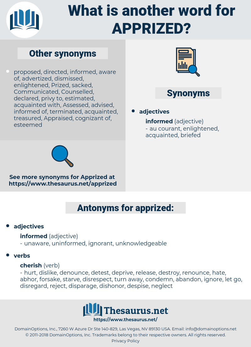 apprized, synonym apprized, another word for apprized, words like apprized, thesaurus apprized
