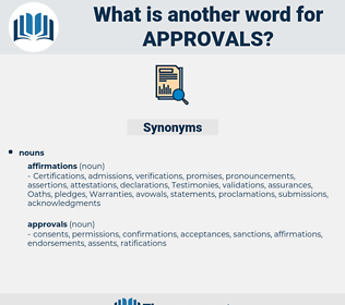 approvals, synonym approvals, another word for approvals, words like approvals, thesaurus approvals