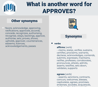 approves, synonym approves, another word for approves, words like approves, thesaurus approves