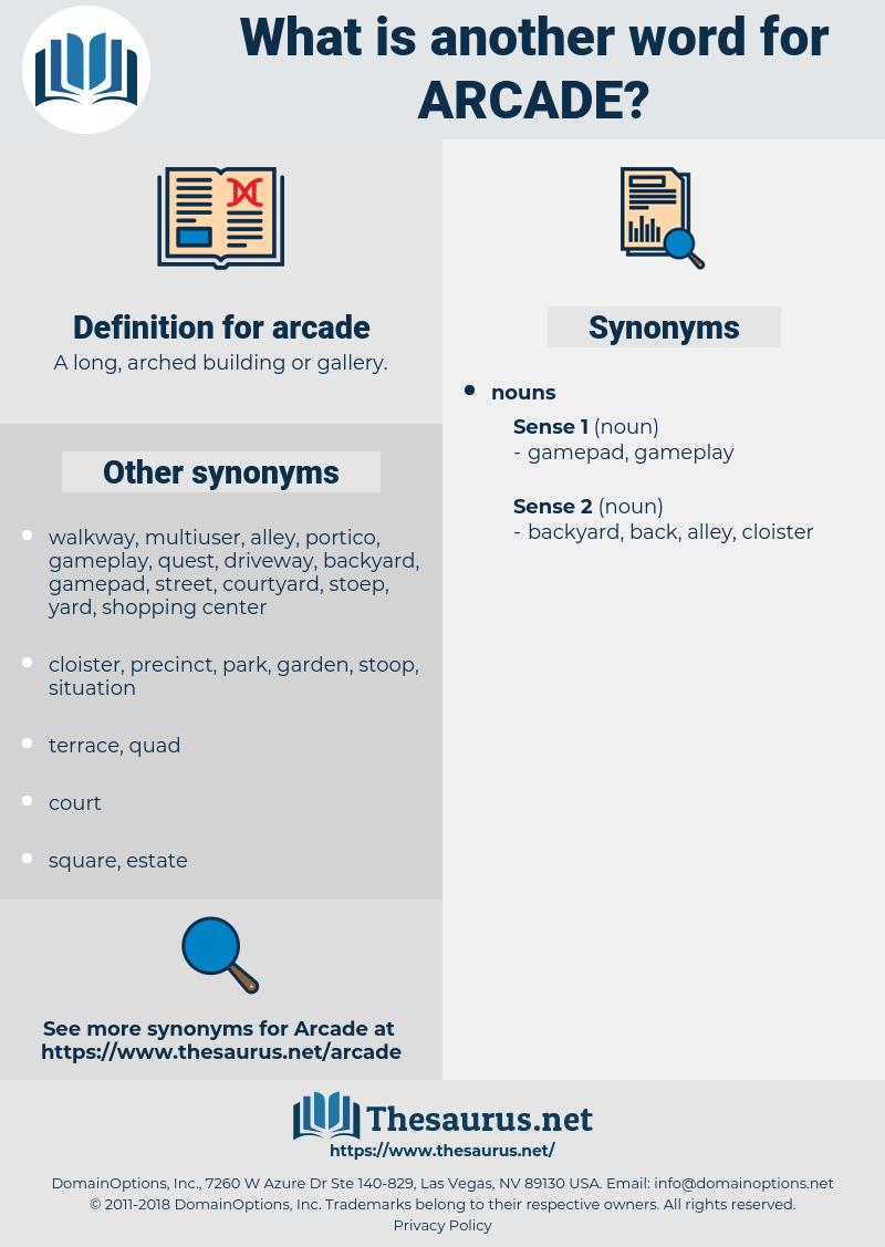arcade, synonym arcade, another word for arcade, words like arcade, thesaurus arcade