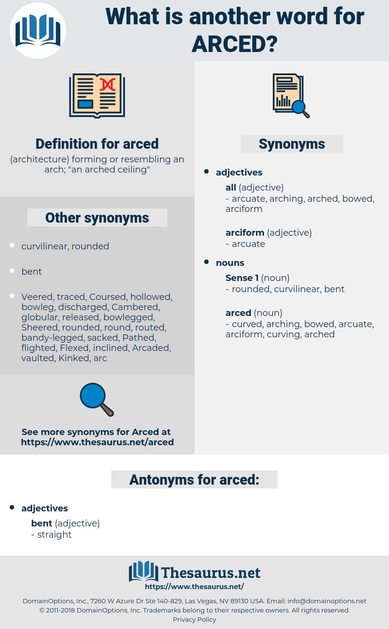 arced, synonym arced, another word for arced, words like arced, thesaurus arced