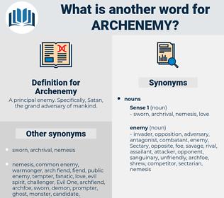 Archenemy, synonym Archenemy, another word for Archenemy, words like Archenemy, thesaurus Archenemy