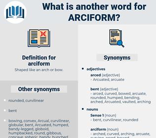 arciform, synonym arciform, another word for arciform, words like arciform, thesaurus arciform