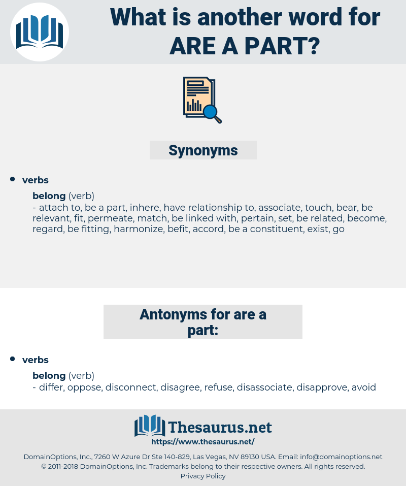 are a part, synonym are a part, another word for are a part, words like are a part, thesaurus are a part