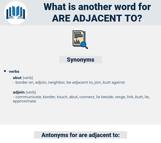are adjacent to, synonym are adjacent to, another word for are adjacent to, words like are adjacent to, thesaurus are adjacent to