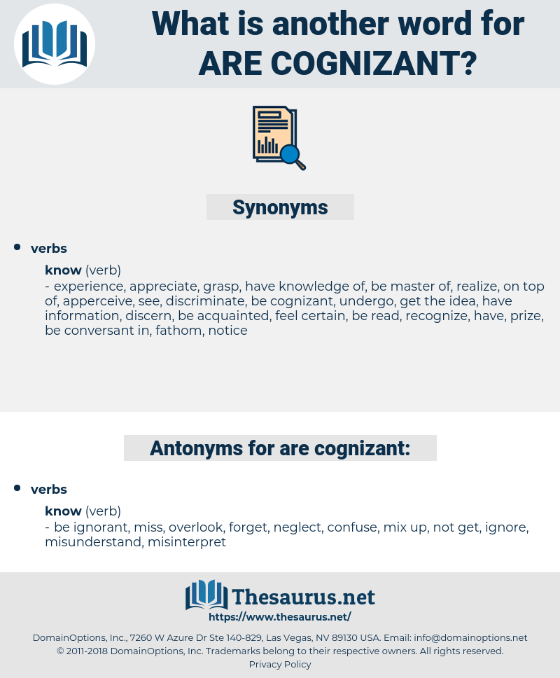 are cognizant, synonym are cognizant, another word for are cognizant, words like are cognizant, thesaurus are cognizant