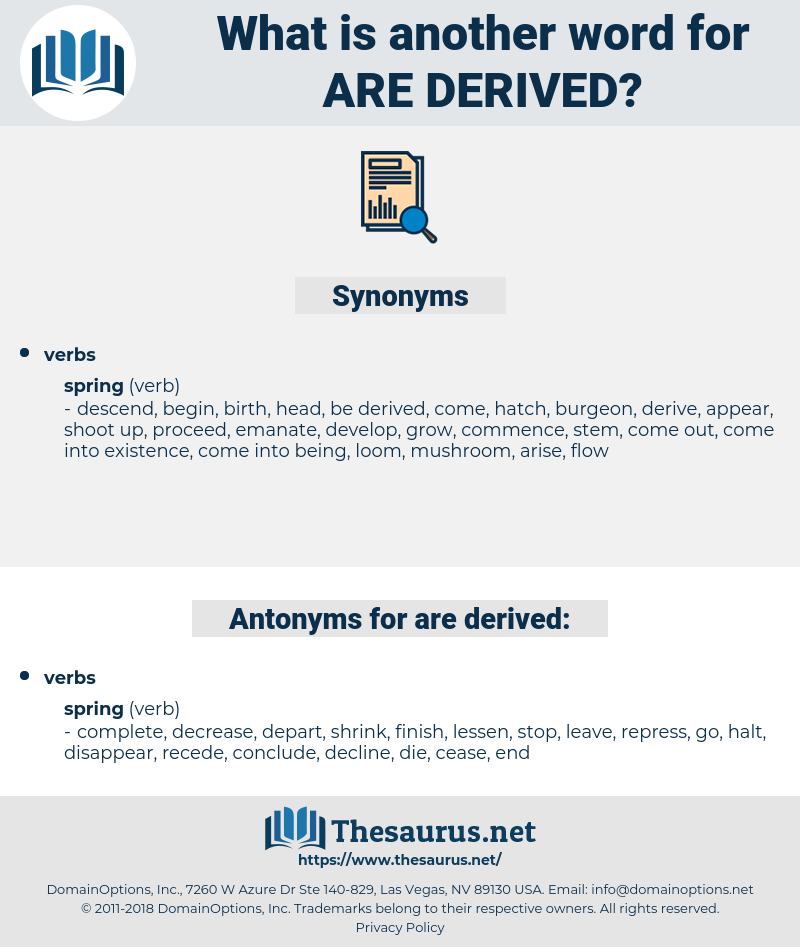 are derived, synonym are derived, another word for are derived, words like are derived, thesaurus are derived