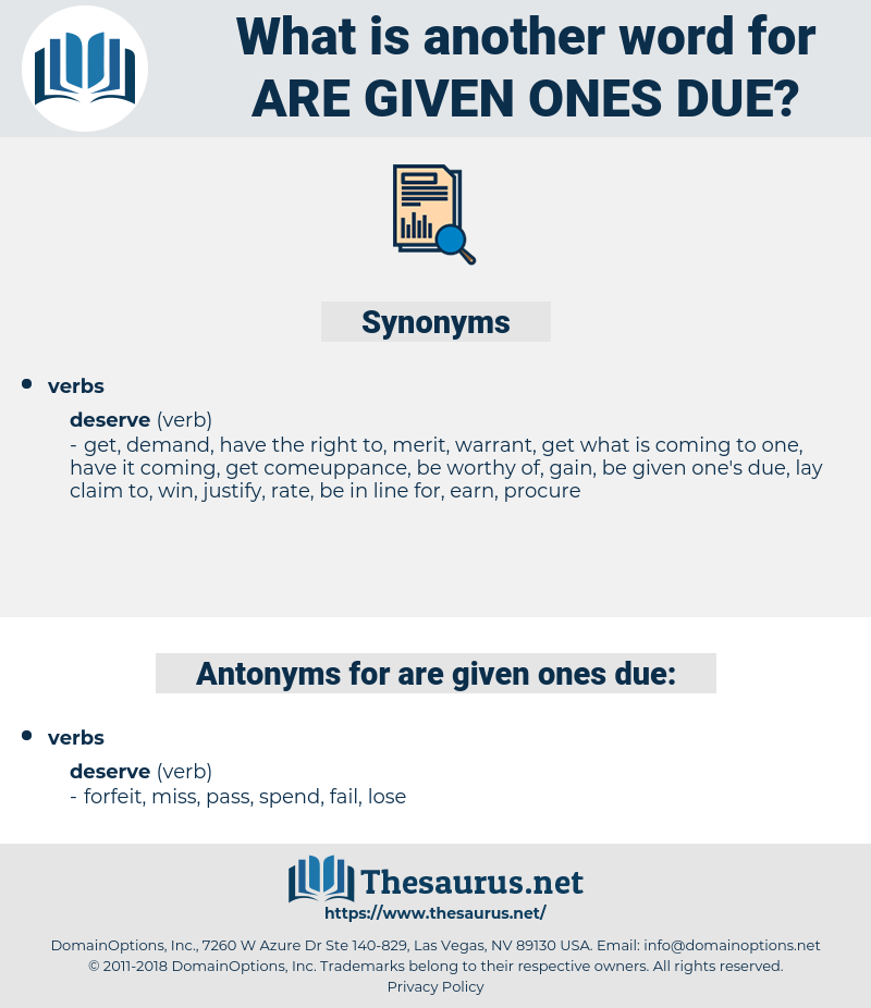 are given ones due, synonym are given ones due, another word for are given ones due, words like are given ones due, thesaurus are given ones due