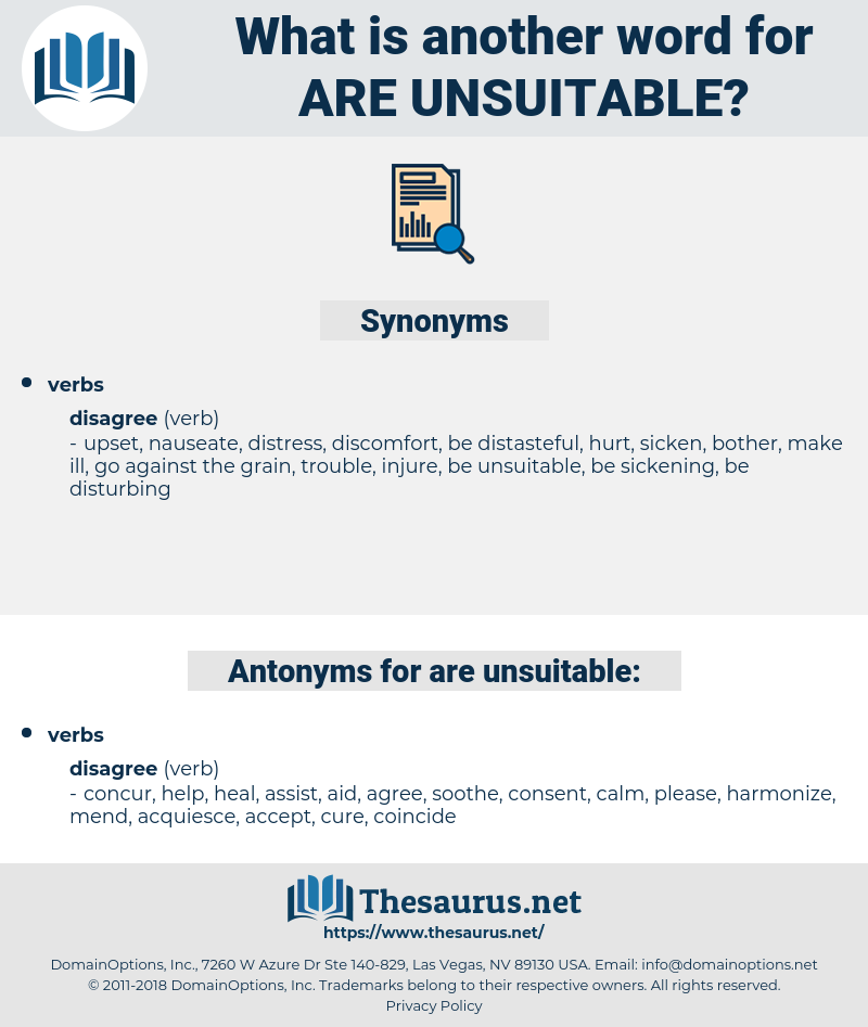 are unsuitable, synonym are unsuitable, another word for are unsuitable, words like are unsuitable, thesaurus are unsuitable