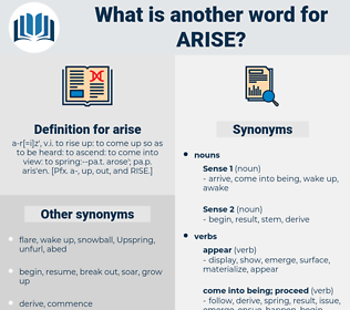 arise, synonym arise, another word for arise, words like arise, thesaurus arise