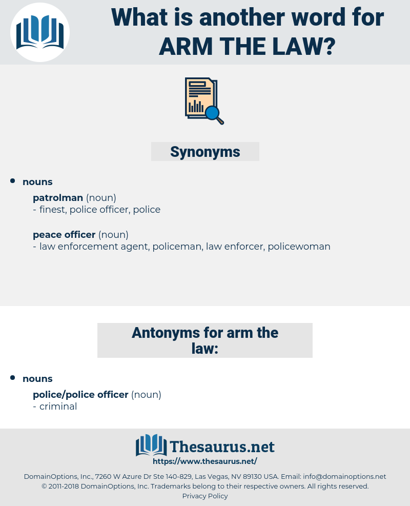 arm the law, synonym arm the law, another word for arm the law, words like arm the law, thesaurus arm the law