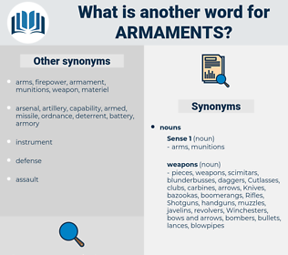 armaments, synonym armaments, another word for armaments, words like armaments, thesaurus armaments