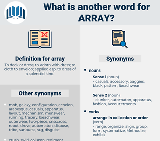 array, synonym array, another word for array, words like array, thesaurus array