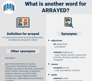 arrayed, synonym arrayed, another word for arrayed, words like arrayed, thesaurus arrayed
