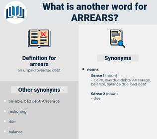 arrears, synonym arrears, another word for arrears, words like arrears, thesaurus arrears