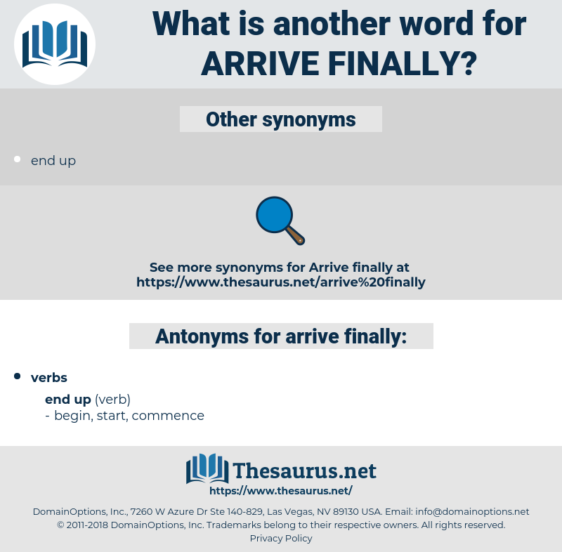 arrive finally, synonym arrive finally, another word for arrive finally, words like arrive finally, thesaurus arrive finally