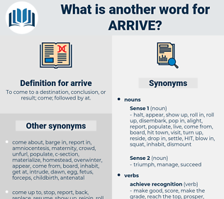 arrive, synonym arrive, another word for arrive, words like arrive, thesaurus arrive