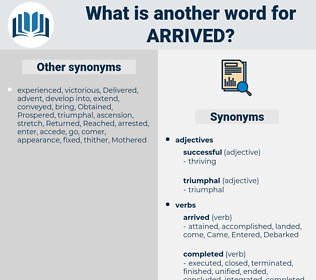 Arrived, synonym Arrived, another word for Arrived, words like Arrived, thesaurus Arrived