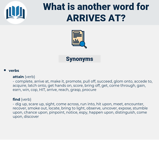 arrives at, synonym arrives at, another word for arrives at, words like arrives at, thesaurus arrives at