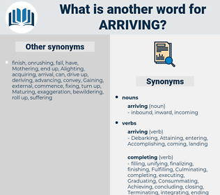arriving, synonym arriving, another word for arriving, words like arriving, thesaurus arriving
