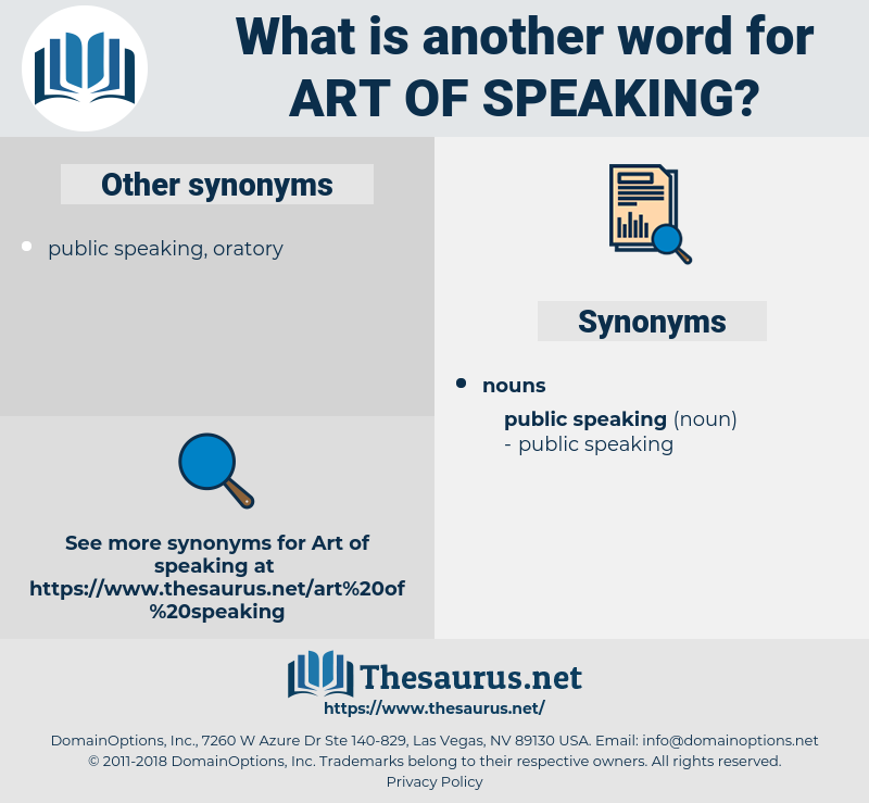 art of speaking, synonym art of speaking, another word for art of speaking, words like art of speaking, thesaurus art of speaking