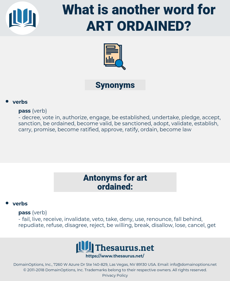 art ordained, synonym art ordained, another word for art ordained, words like art ordained, thesaurus art ordained