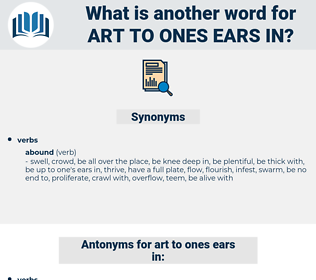 art to ones ears in, synonym art to ones ears in, another word for art to ones ears in, words like art to ones ears in, thesaurus art to ones ears in