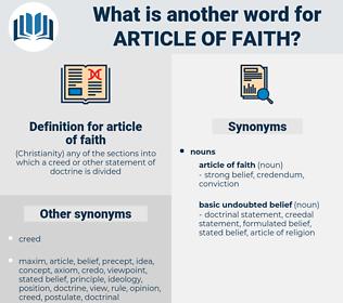 article of faith, synonym article of faith, another word for article of faith, words like article of faith, thesaurus article of faith