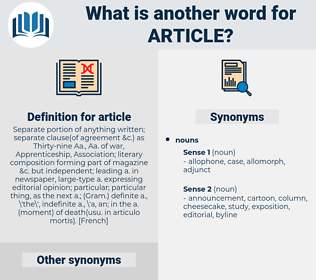 article, synonym article, another word for article, words like article, thesaurus article