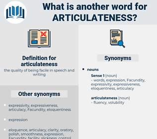 articulateness, synonym articulateness, another word for articulateness, words like articulateness, thesaurus articulateness