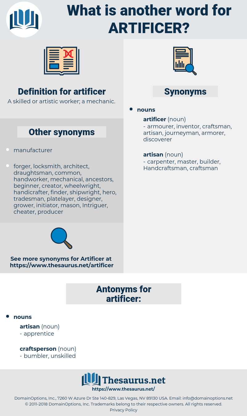 artificer, synonym artificer, another word for artificer, words like artificer, thesaurus artificer